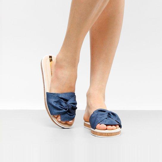 Rasteira Moleca Flatform Jeans - Jeans