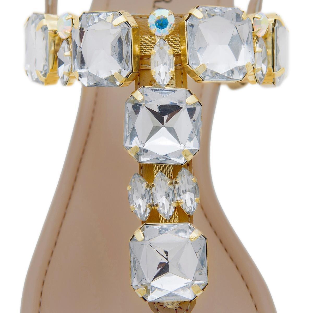 Rasteira Pedra Pura Pedraria Cristal Boreal Feminina - Marrom Claro