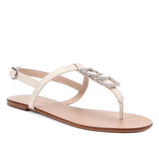 Rasteira Shoestock Couro Strass Cristal - Off White
