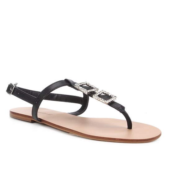 Rasteira Shoestock Couro Strass Cristal - Preto