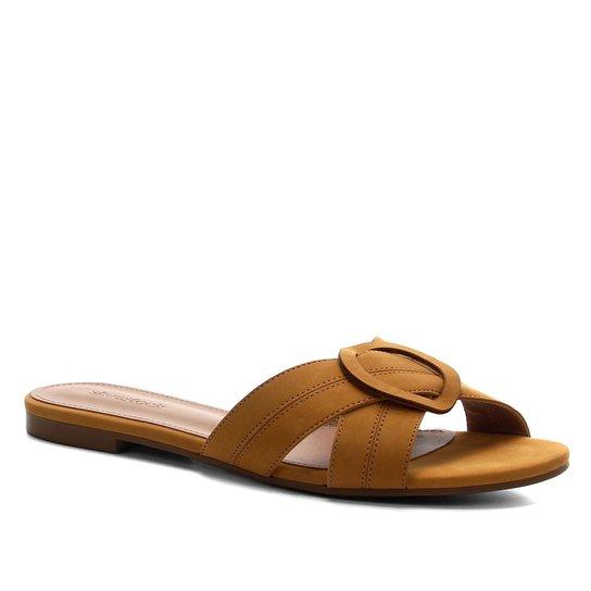 Rasteira Shoestock Entrelaço Nobuck - Amarelo