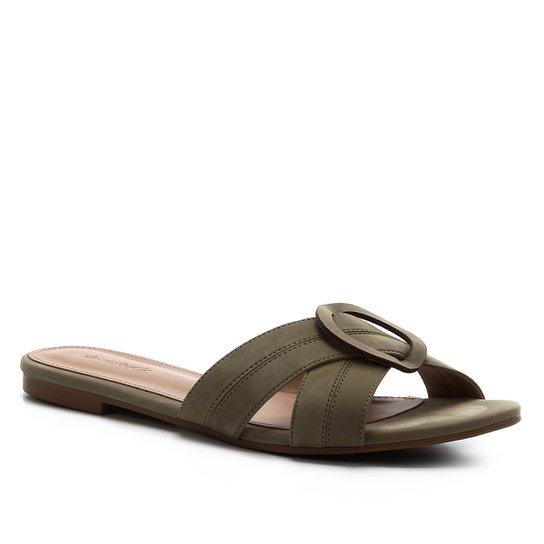 Rasteira Shoestock Entrelaço Nobuck - Verde