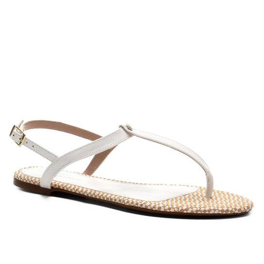 Rasteira Shoestock Flat Ráfia - Branco