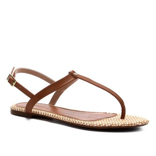 Rasteira Shoestock Flat Ráfia - Caramelo