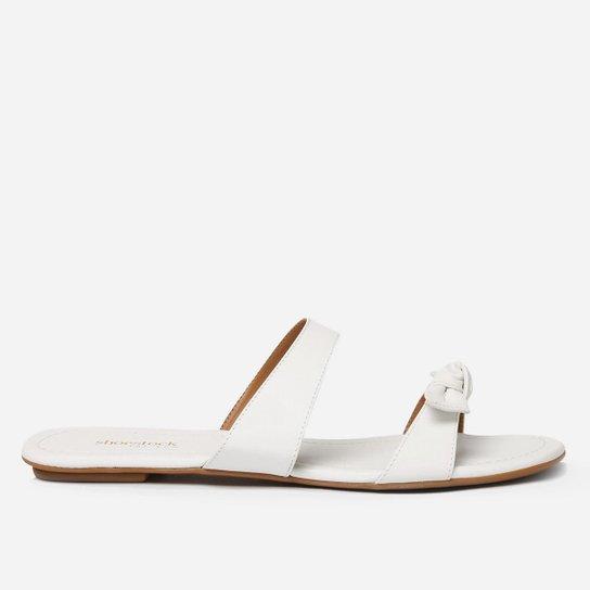 Rasteira Shoestock For You Laço Feminina - Branco
