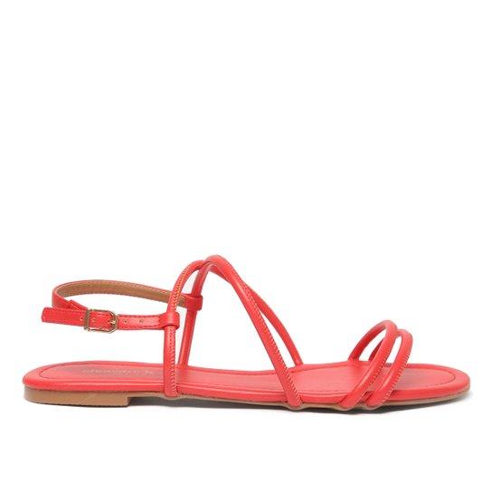Rasteira Shoestock For You Tiras Feminina - Vermelho