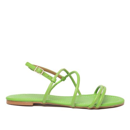 Rasteira Shoestock For You Tiras Feminina - Verde