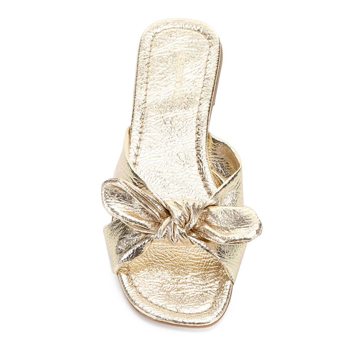 Rasteira Shoestock Laço - Ouro