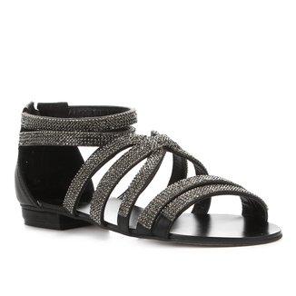Rasteira Shoestock Mini Malha Strass