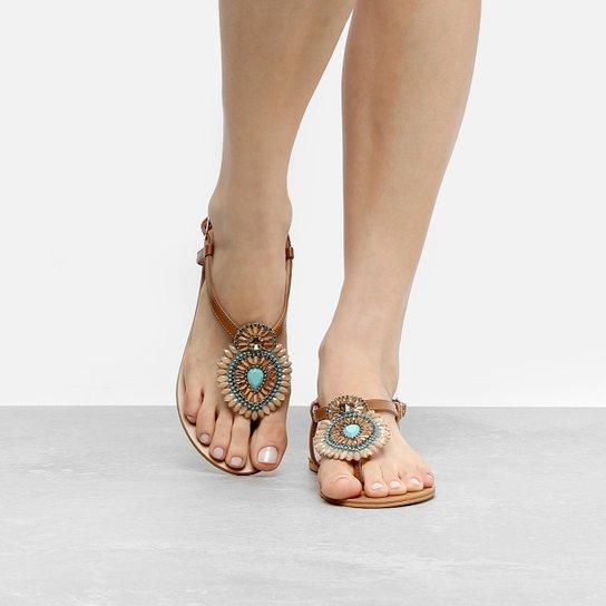 Rasteira Shoestock Pedra Color - Caramelo