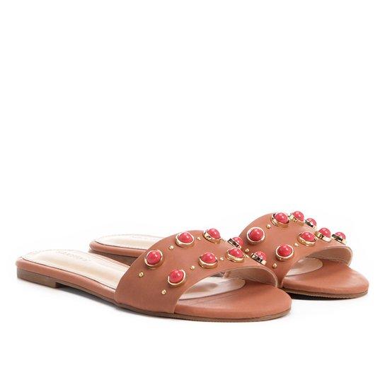 Rasteira Shoestock Pedras Color - Caramelo
