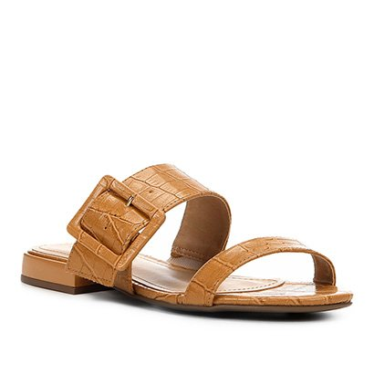 Rasteira Shoestock Slide Croco Fivela