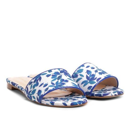 Rasteira Shoestock Slide Estampada - Azul