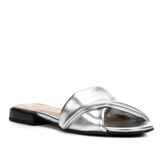 Rasteira Shoestock Slide Recorte - Prata