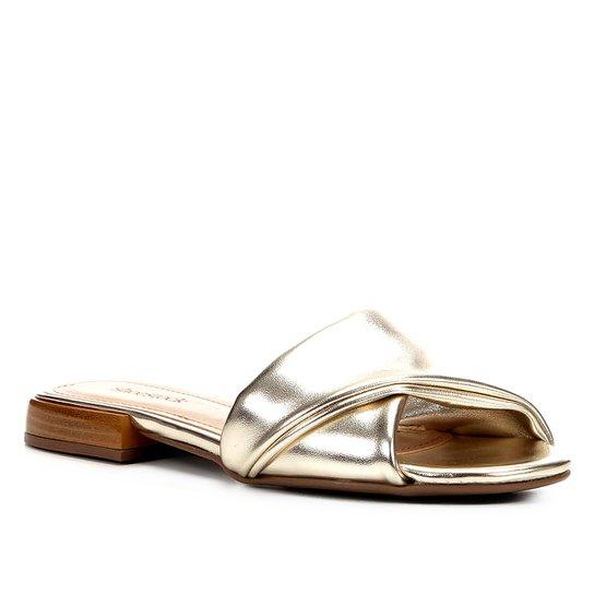 Rasteira Shoestock Slide Recorte - Dourado