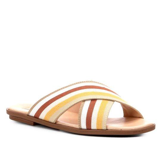 Rasteira Shoestock Slide Rústica Listrada - Marrom+Amarelo