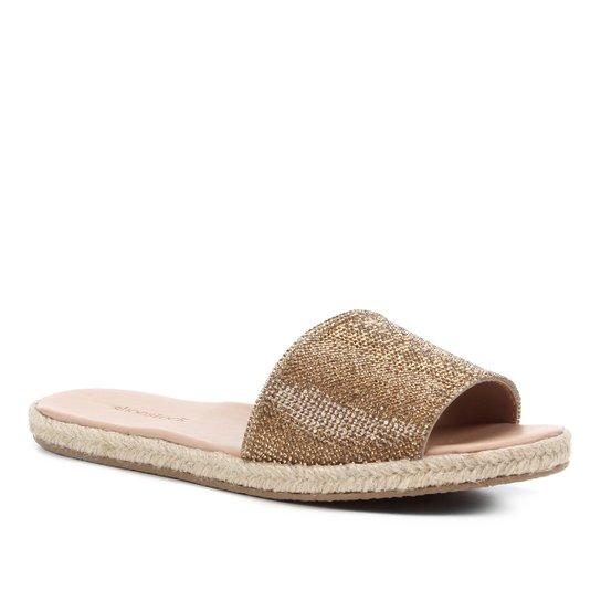 Rasteira Shoestock Slide Strass Corda - Ouro