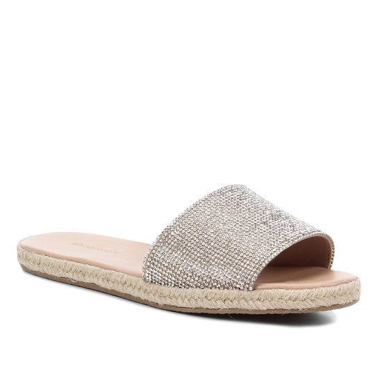 Rasteira Shoestock Slide Strass Corda - Prata