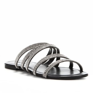 Rasteira Shoestock Slide Tiras Strass