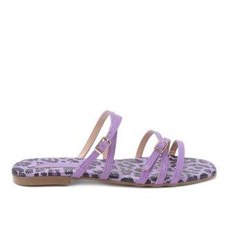 Rasteira Shoestock Tiras Cruzadas Onça Color