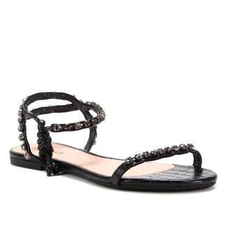 Rasteira Shoestock Tiras Laço Pedra Preta