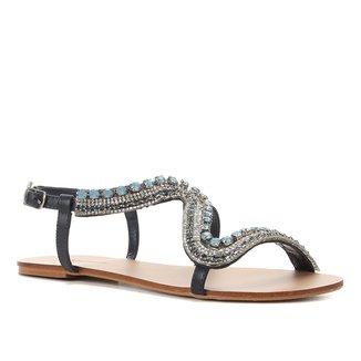 Rasteira Shoestock Tiras Pedras Strass
