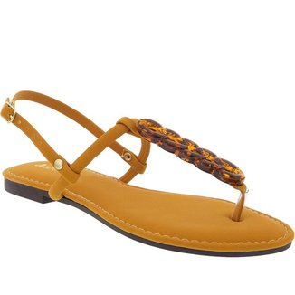 Rasteira Thong Sandal Liberte Aplicações Nobuck Feminina