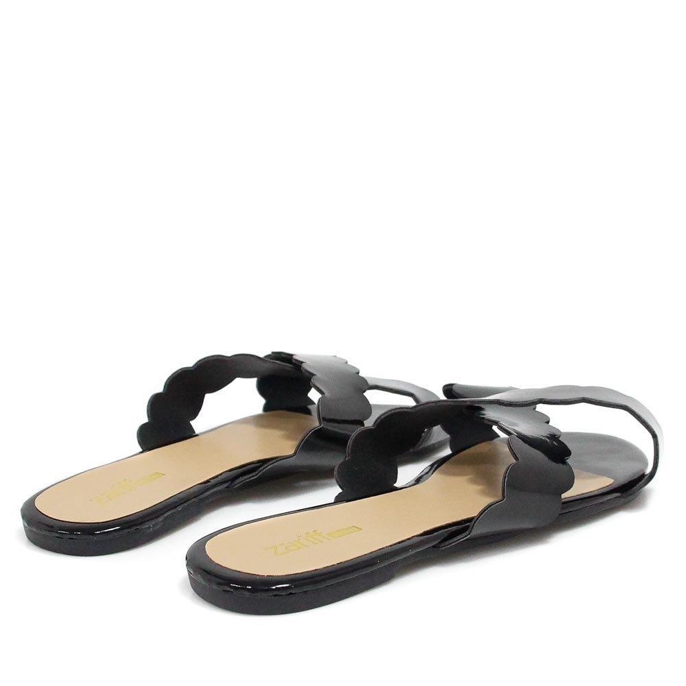 Bico Rasteira Zariff Shoes Zariff Rasteira Verniz Preto Aberto nCC81qx