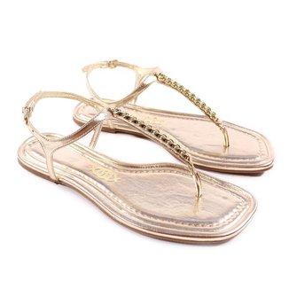 Rasteirinha Ecowear Positano Bico Quadrado Dourada