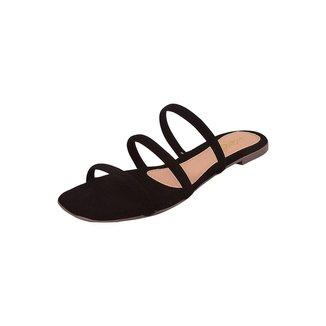 Rasteirinha Feminina Uzze Sapatos Metalizada Preta