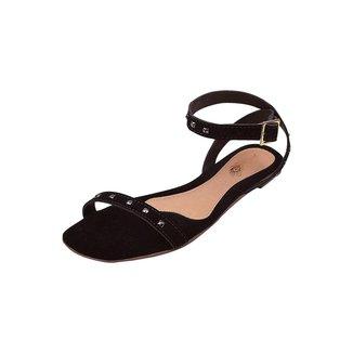 Rasteirinha Feminina Uzze Sapatos Spikes Preta Nobuck