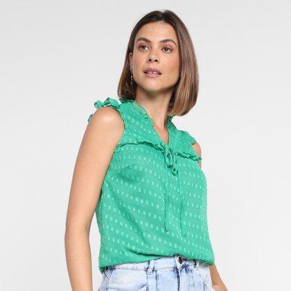 Regata Dom Fashion Decote V Costas Transparente Feminina