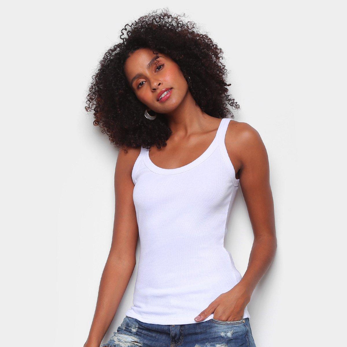 Regata Hering Slim Básica Feminina - Branco