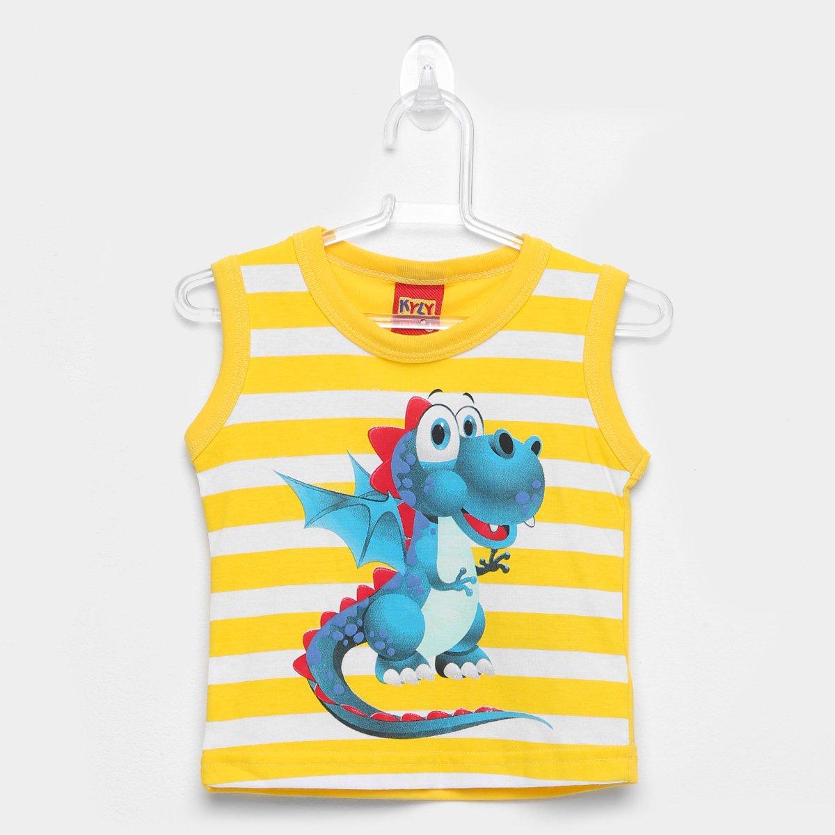 30a15d6bb Regata Infantil Kyly Dinossauro Listrada Masculina - Amarelo | Zattini