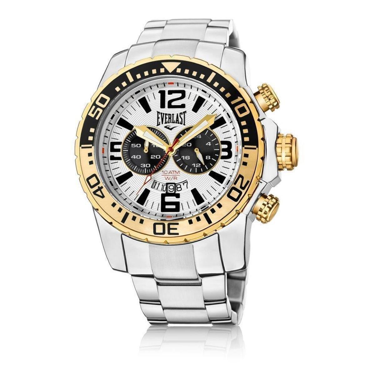 66a01cfec04 Relógio Everlast Cronógrafo Cx e Pulseira Aço Masculino - Prata ...