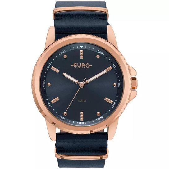 Relógio Feminino Euro EU2035YNM/4A Pulseira de Couro - Preto