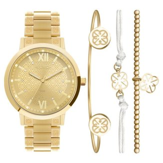 Relógio Feminino Kit Euro Soul EU2035YSM/K4D 42mm Aço Dourado