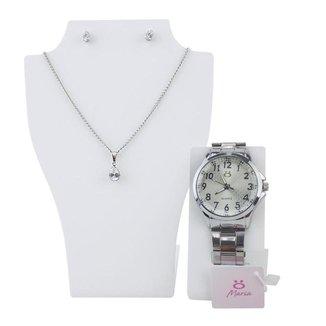 Relógio Maria Orizom em Aço Feminino + Colar + Brinco