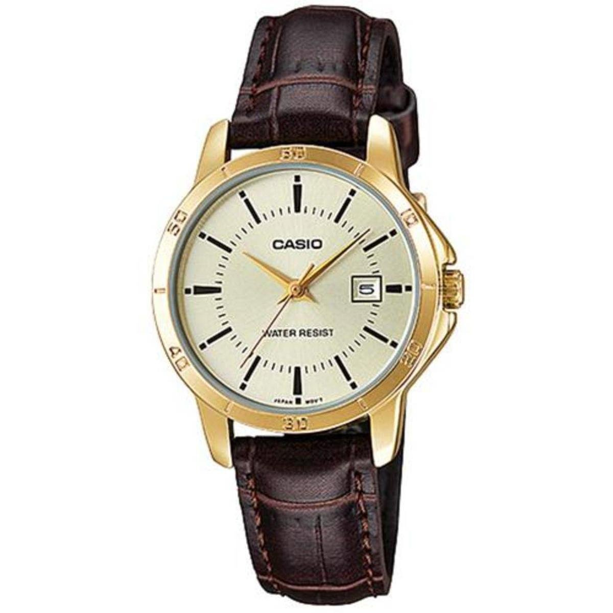25e13e3dc2e Relógio Masculino Casio Mtp-V004gl-9Audf - Dourado - Compre Agora ...
