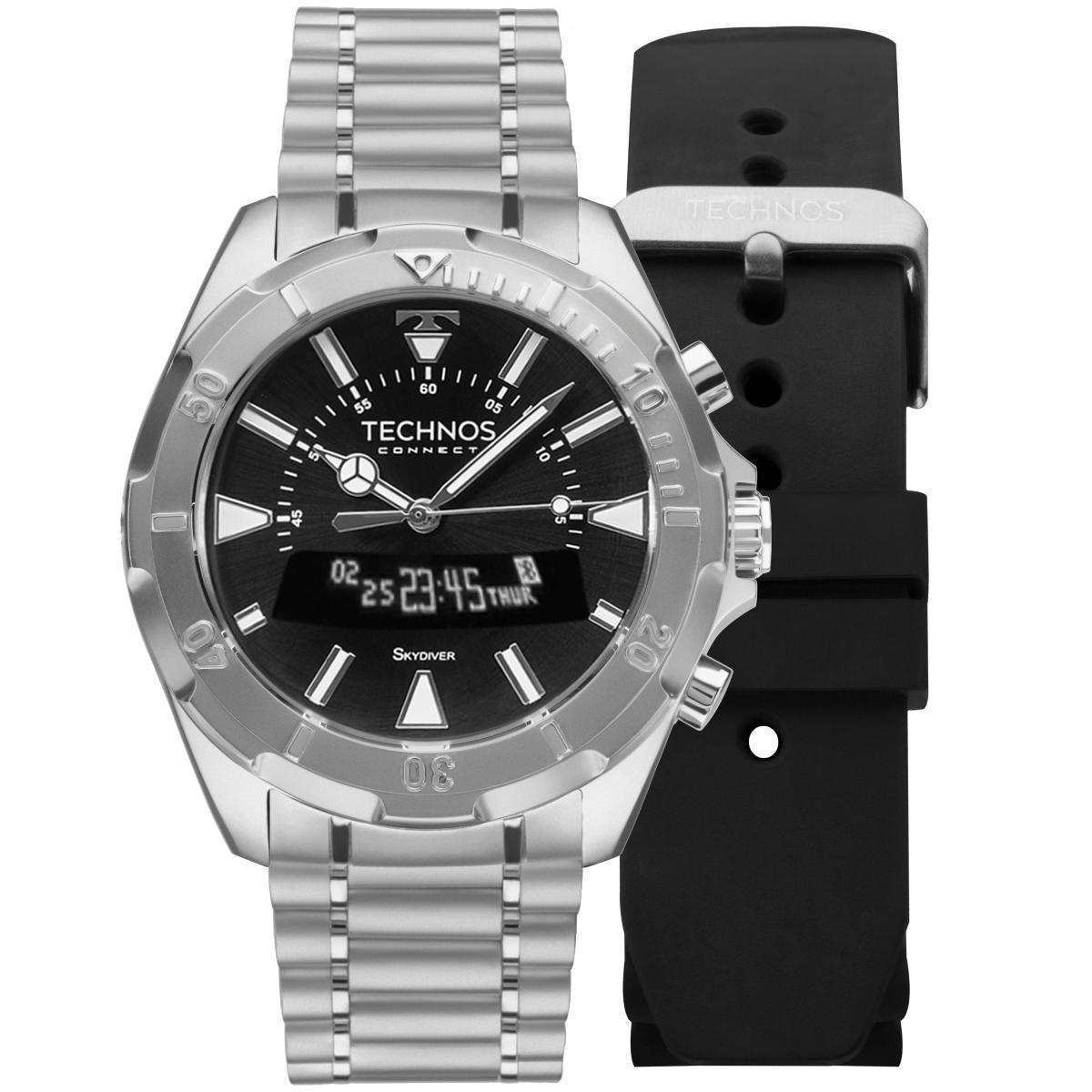 ef26ba5b4ac50 Relógio Masculino Technos Connect SCAA 1P Pulseira Prata + Adicional  Silicone Preta