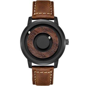 Relógio Mayon MN3477 Magnético 40mm Pulseira em Couro Marrom