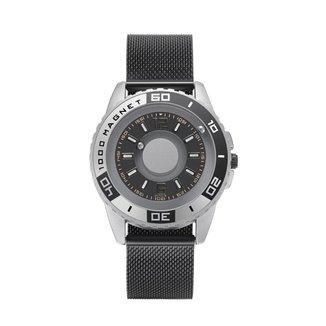 Relógio Mayon MN3501 Magnético Prata Pulseira Preto 40mm