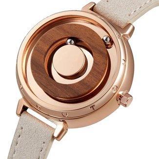 Relógio Mayon MN3547 Magnético Rose 35mm Pulseira em Couro
