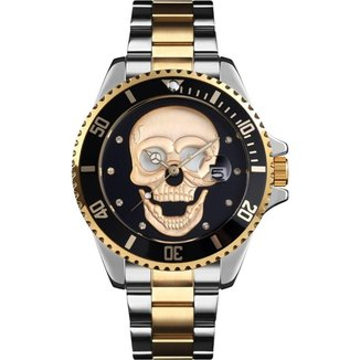 Relógio Mayon Mn3803 Caveira 3D Gold/Aço Inoxidável 46mm