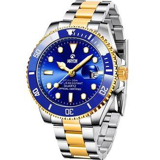 Relógio Mayon MN4803 Dourado/Prata/Azul Quartz Moviment 44mm