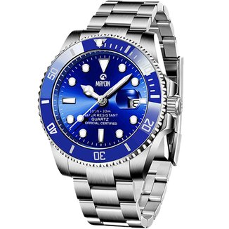 Relógio Mayon MN4804 Prata/Azul Quartz Moviment 44mm