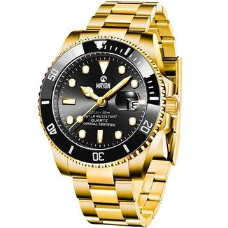 Relógio Mayon MN4805 Dourado/Preto Quartz Moviment 44mm