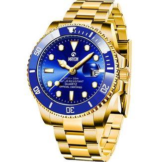 Relógio Mayon MN4806 Gold/Azul Quartz Moviment 44mm