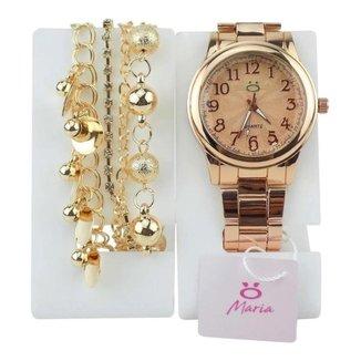 Relógio Orizom em Aço Maria Feminino + Pulseira Pandora