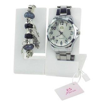 Relógio Orizom Maria em Aço Feminino + Pulseira Pandora
